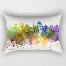 San Antonio skyline in watercolor background Rectangular Pillow