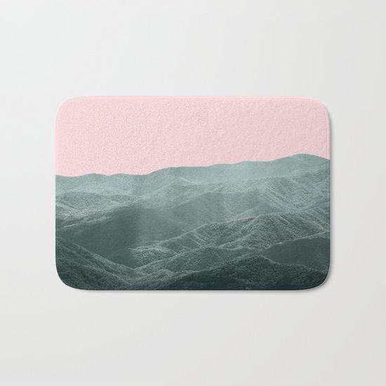 Mountains Pink + Green Bath Mat
