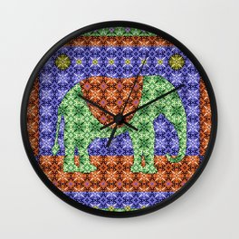 Colorful Tribal Elephant Wall Clock