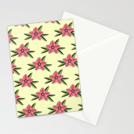 Hand Drawn Old School Tattoo Flower - Light Yellow Stationery Cards