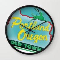 portland Wall Clocks featuring Portland by Casey Baggz