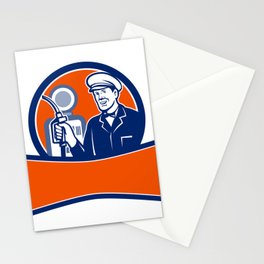 Vintage Gas Station Attendant Circle Retro Stationery Cards