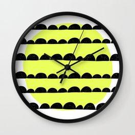 half moon pattern with yellow circle Wall Clock