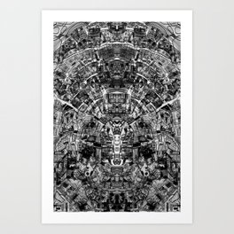 Mirrored Black and White Cityplan Art Print