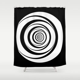 Black White Circles Optical Illusion Shower Curtain