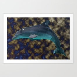 Bowing in shades of blue and gold Art Print