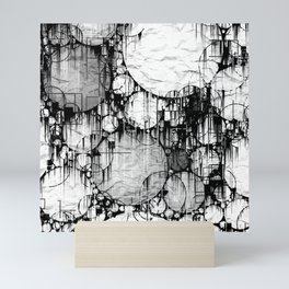 Glitch Black & White Circle abstract Mini Art Print
