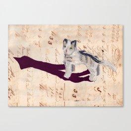 Vintage Fabric Stuffed Cat in Gouache Canvas Print