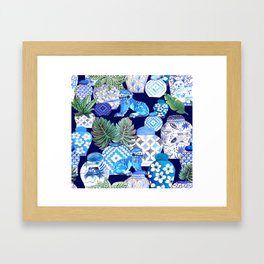 Chinoiserie Blue and white Chinese Ginger Jars and Foo dogs with palm and calathea Framed Art Print