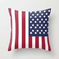 america Throw Pillows featuring America. by Jake  Williams