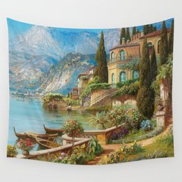 Lakeside Flower Garden Landscape Painting, Lake Como, Italy Wall Tapestry