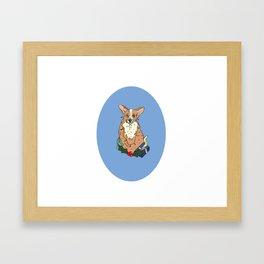 Christmas Corgi Framed Art Print