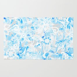 Floral Drawing in Cool Blue Watercolor and White Rug