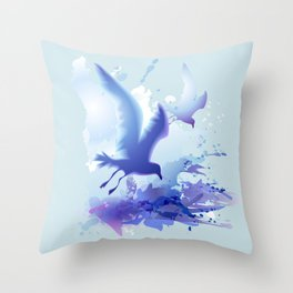 Watercolor sea ocean waves seascape with realistic birds, gulls, abstract water. Realism. Art. Throw Pillow