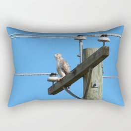 Red Tailed Hawk on Telephone Pole 1 Rectangular Pillow
