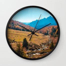 Autumn trekking in the alpine Pusteria valley Wall Clock