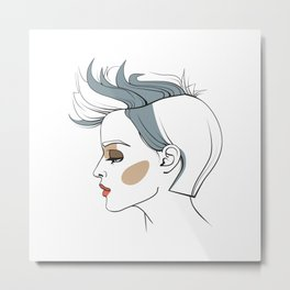 Woman with trendy haircut. Abstract face. Fashion illustration Metal Print