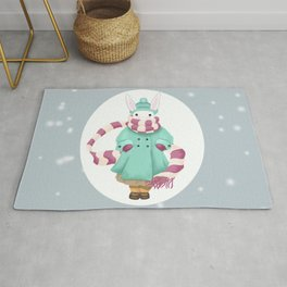 Bunny Sister Out On a Winter Day Rug