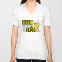 borderlands V-neck T-shirts featuring BIGGER AND BADDER by Resistance