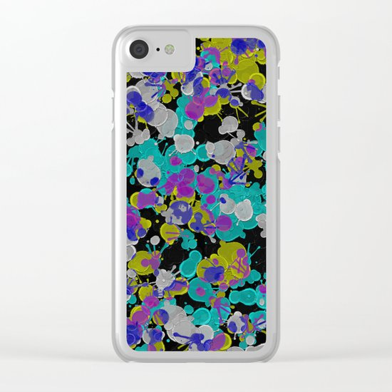 Dark Splatter - Abstract, paint splatter pattern in black, cyan, yellow, white and green Clear iPhone Case