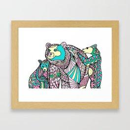 Momma Bear and Cubs Framed Art Print