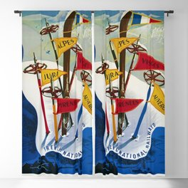 Vintage Winter Sports in France Skiing - Mountain Climbing Travel Advertising Poster Blackout Curtain