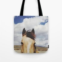 horse Tote Bags featuring Cloudy Horse Head by Kevin Russ