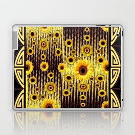 GREY ART DECO SUNFLOWERS ABSTRACT Laptop & iPad Skin