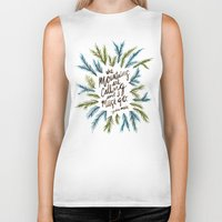 the mountains are calling Biker Tanks featuring Mountains Calling by Cat Coquillette