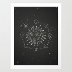 Moon, sun and elements Art Print