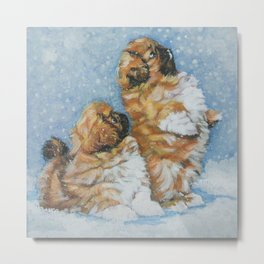 Pekingese puppies in snow from an original painting by L.A.Shepard Metal Print