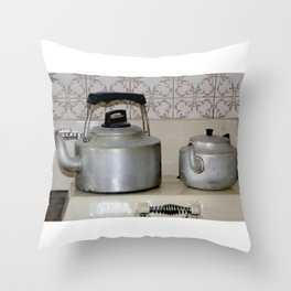 Teapot and kettle vintage stove top Kitchen equipment Throw Pillow