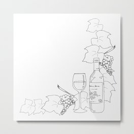 Line drawing of wine and grapes Metal Print