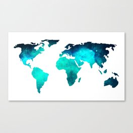 World Map Space Galaxy Stars in Turquoise Canvas Print