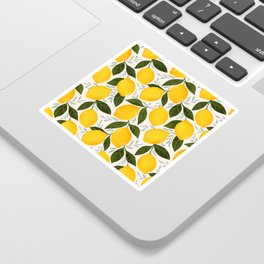 Mediterranean Summer Lemons Pattern Sticker