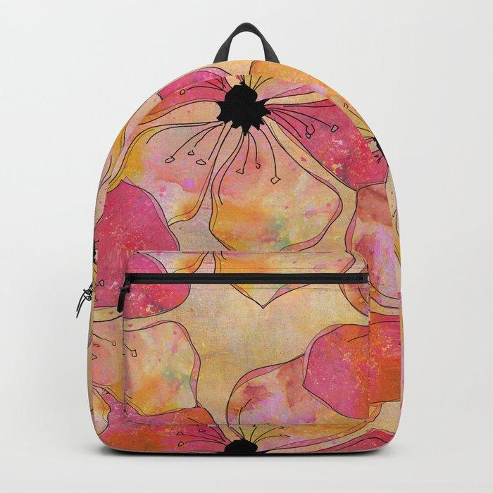 Floral watercolor pattern in pastel tones Backpack
