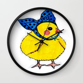 Baby Chick Wears a Blue Bow Wall Clock