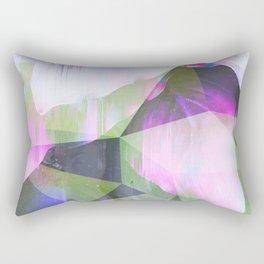 Lush Foliage Glitch - Green and Pink Rectangular Pillow