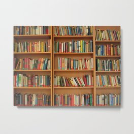 Bookshelf Books Library Bookworm Reading Metal Print
