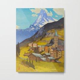 The Matterhorn 1925 Hiroshi Yoshida Vintage Japanese Woodblock Print Metal Print