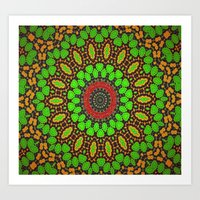 Lovely Healing Mandala  in Brilliant Colors: Green, Brown, Copper, and Maroon Art Print
