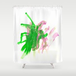 First paint abstract by Keira Shower Curtain