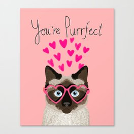 Siamese Cat valentines day gift for cat lady love heart romantic kitten pet friendly present for her Canvas Print