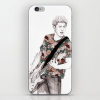 niall iPhone & iPod Skins featuring Floral Niall by Coconut Wishes
