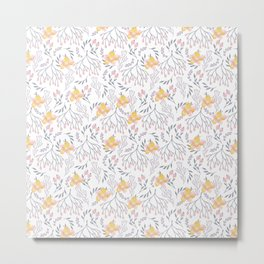 Blooms in Yellow and Pink Metal Print