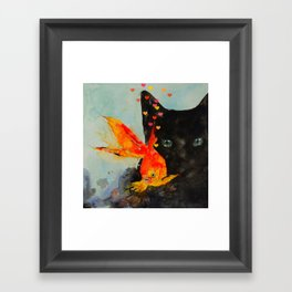 Black Cat And The Gold Fish Framed Art Print