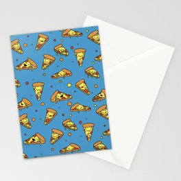 Cute Happy Smiling Pizza Pattern on blue background Stationery Cards