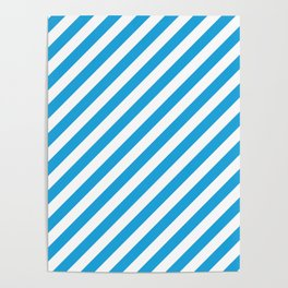 Oktoberfest Bavarian Blue and White Candy Cane Stripes Poster