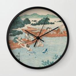 Abalone Divers off the Coast of Ise by Utagawa Kunisada Wall Clock