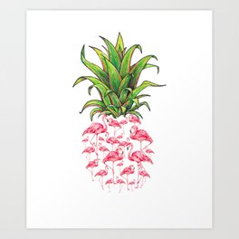 cute and lovely pink flamingo pineapple love gift Art Print